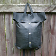 Кожаный рюкзак Ролтоп Rolltop черный
