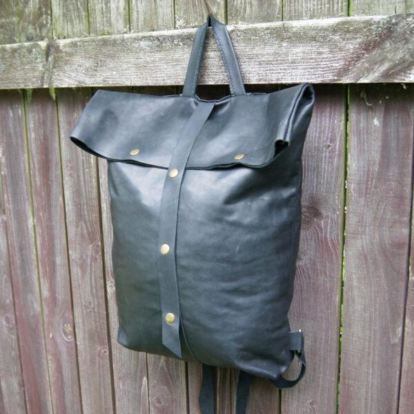 рюкзак роллтоп кожаный черный