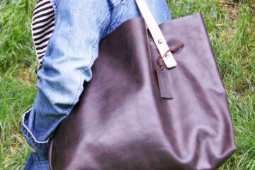 Женская кожаная сумка шоппер на заказ
