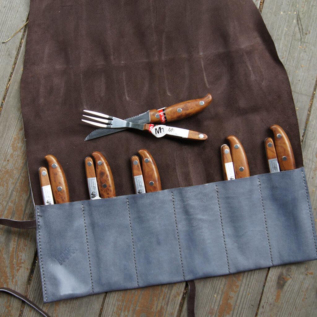 Кожаный чехол для столовых приборов инструментов на заказ