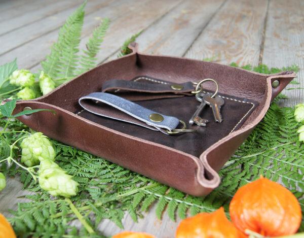 Кожаный лоток тарелка для мелочей для стола дома офиса интерьера