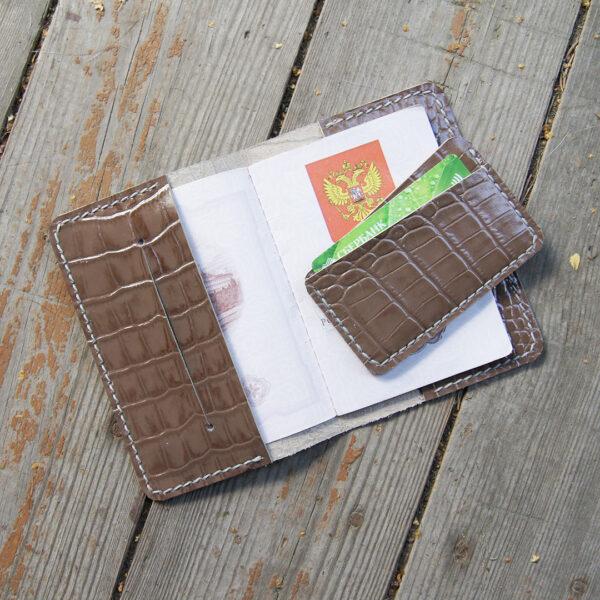 Обложка кожаная серая для паспорта документов и картхолдер