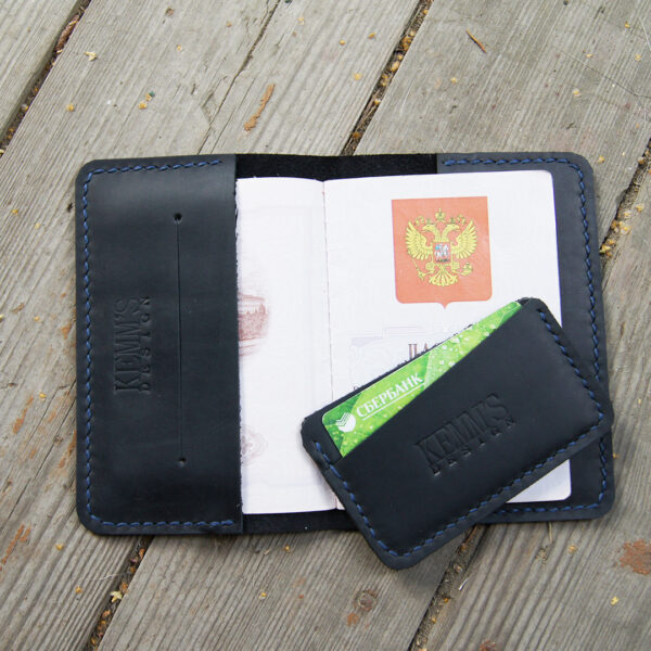 Обложка кожаная черная для паспорта документов и картхолдер