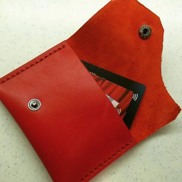 Кожаный кошелек красный Kemms Design