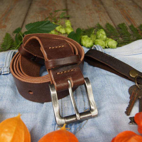 Кожаный ремень широкий 4 см коричневый