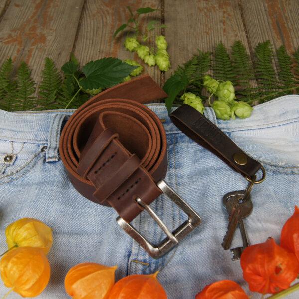 Кожаный ремень 4 см для джинс коричневый