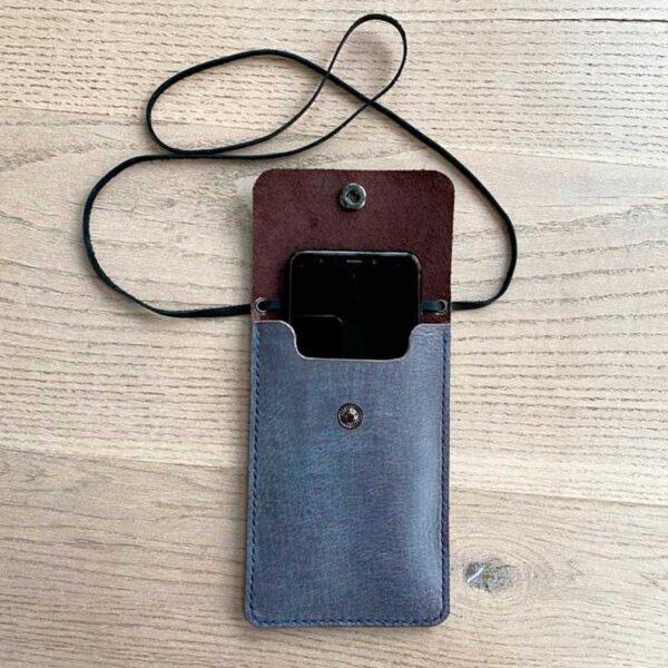 чехол кожаный на шею для смартфона iphone