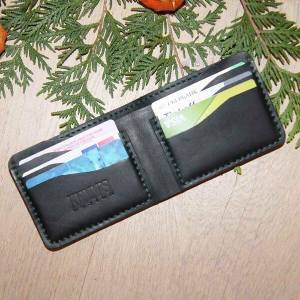 Бумажник черный кожа