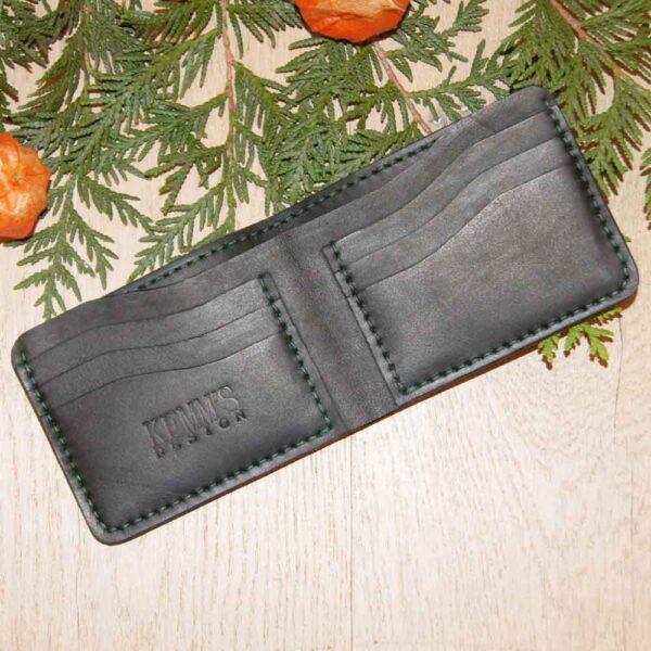 Бумажник черный кожаный