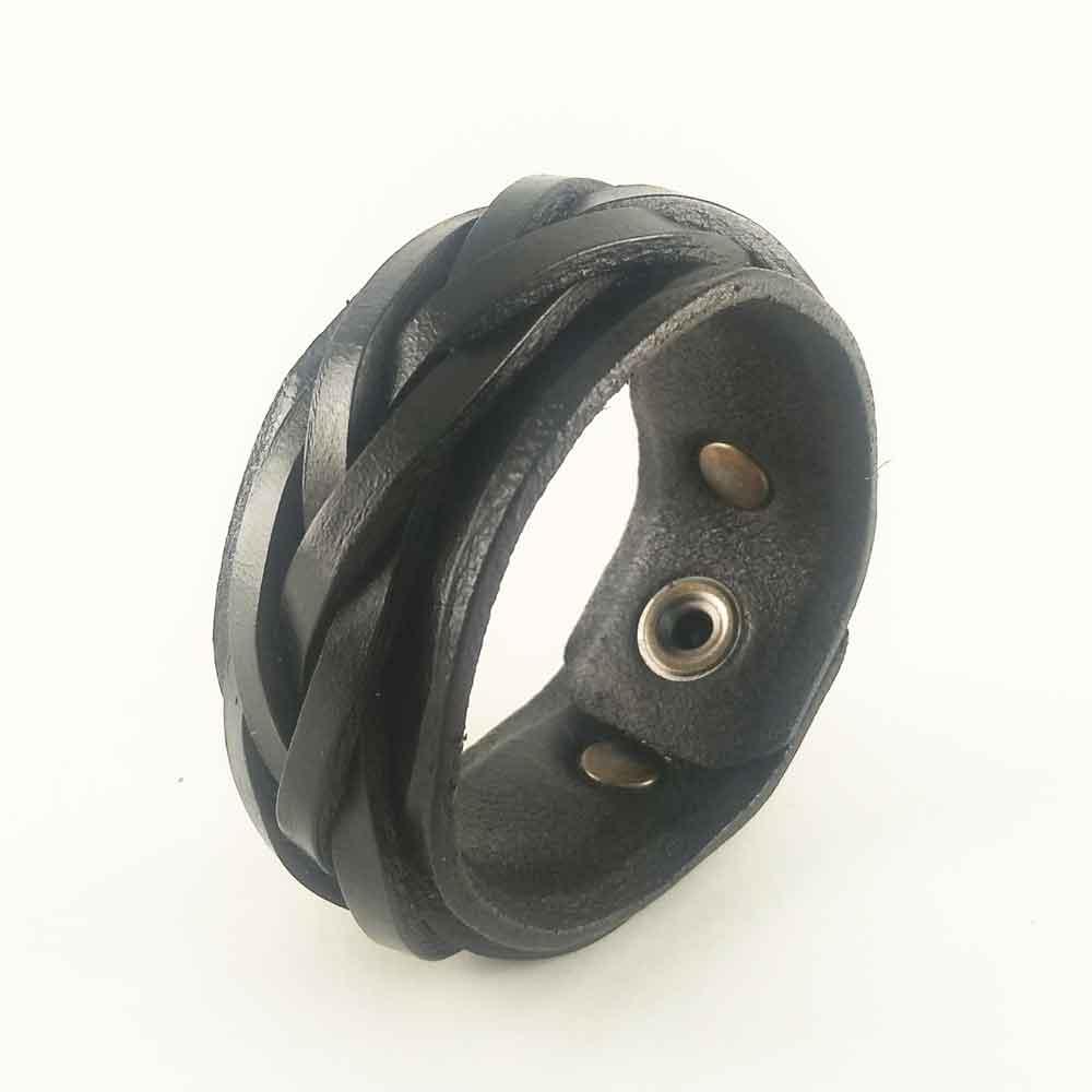 Кожаный браслет черный